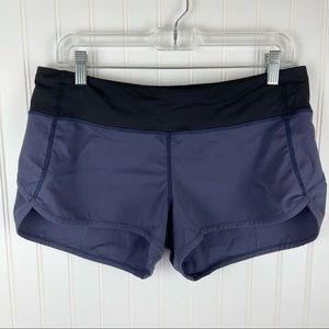 Lululemon Run Speed Shorts Blue Black Stripe 8